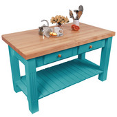 Grazzi Kitchen Island with Maple Top and Breakfast Bar, 60'' W x 28'' D x 35''H, Caribbean Blue