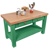 Grazzi Kitchen Island with Maple Top and Breakfast Bar, 60'' W x 28'' D x 35''H, Clover Green