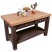 Grazzi Kitchen Island with Maple Top and Breakfast Bar, 60'' W x 28'' D x 35''H, French Roast