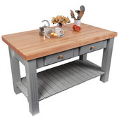Grazzi Kitchen Island with Maple Top and Breakfast Bar, 60'' W x 28'' D x 35''H, Slate Gray