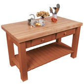 Grazzi Kitchen Island with Maple Top and Breakfast Bar, 60'' W x 28'' D x 35''H, Spicy Latte