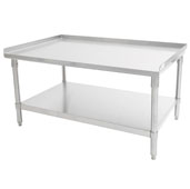 GS6-GS Series 16-Gauge Stainless Steel Top Equipment Stand 48'' W x 24'' D x 24'' H with 1-1/2'' Rear & Sides Riser, Galvanized Legs and Adjustable Shelf, Knocked Down