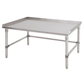 GS6-SB Series 16-Gauge Stainless Steel Top Equipment Stand 48'' W x 36'' D x 24'' H with 1-1/2'' Rear & Ends Riser, Bracing, Knocked Down