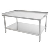 GS6-SS Series 16-Gauge Stainless Steel Top Equipment Stand 60'' W x 36'' D with 1-1/2'' Rear & Side Riser, Legs and Shelf, All Welded Set-Up