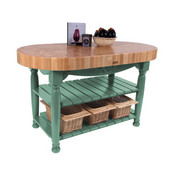 Kitchen Harvest Table with 4'' Thick End Grain Maple Oval Top & 3 Wicker Baskets, 60'' W x 30'' D x 4''H, Basil