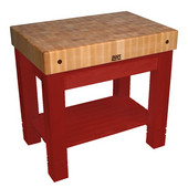 Kitchen Work Table Homestead Block, 36'' W x 24'' D x 34''H, Barn Red