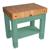 Kitchen Work Table Homestead Block, 36'' W x 24'' D x 34''H, Basil Green