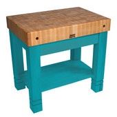 Kitchen Work Table Homestead Block, 36'' W x 24'' D x 34''H, Caribbean Blue