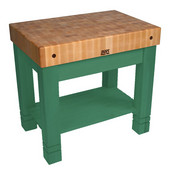 Kitchen Work Table Homestead Block, 36'' W x 24'' D x 34''H, Clover Green