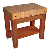 Kitchen Work Table Homestead Block, 36'' W x 24'' D x 34''H, Cherry Stain