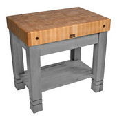 Kitchen Work Table Homestead Block, 36'' W x 24'' D x 34''H, Slate Gray