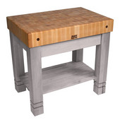 Kitchen Work Table Homestead Block, 36'' W x 24'' D x 34''H, Useful Gray Stain