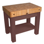 Kitchen Work Table Homestead Block, 36'' W x 24'' D x 34''H, Walnut Stain