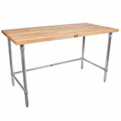 1-3/4'' Thick Blended Blended Maple Top Work Table w/ Galvanized Base & Bracing, Oil Finish, Available in Numerous Sizes