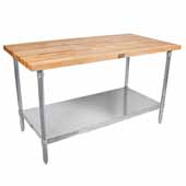1-3/4'' Thick Blended Maple Top Work Table w/ Galvanized Base & Shelf, Oil Finish, Available in Numerous Sizes