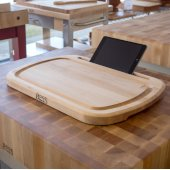 iBlock Pro Reversible 1-1/4'' Thick Edge Grain Cutting Maple Board with Built-In Tablet/Smart Phone Stand, 20'' W x 15'' D