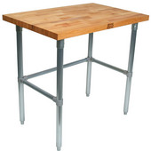 1-1/2'' Thick Blended Maple Top Work Table w/ Galvanized Base & Bracing, Varnique Finish, Numerous Sizes Available