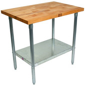 1-3/4'' Thick Blended Maple Top Work Table w/ Galvanized Base & Shelf, Varnique Finish, Available in a Variety of Sizes