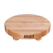 Round Cutting Board with Bun Feet, Maple Edge Grain, 12'' Dia. x 1-1/2'' Thick, Sold Individually or in a Set