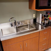Stainless Steel Counter Top with 6'' Boxed Backsplash, Available from 12'' - 144'' Widths