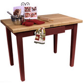 Classic Country Worktable, 48'' or 60'' W x 30'' D x 35''H, Barn Red
