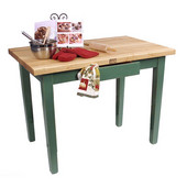 Classic Country Worktable, 48'' or 60'' W x 36'' D x 35''H, Basil Green