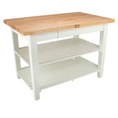 Classic Country Worktable, 48'' or 60'' W x 30'' D x 35''H, with 2 Shelves, Alabaster