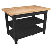 Classic Country Worktable, 36'', 48'', or 60'' W x 24'' D x 35''H, with 2 Shelves, Black