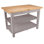Classic Country Worktable, 48'' or 60'' W x 36'' D x 35''H, with 2 Shelves, Useful Gray