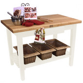 Classic Country Worktable, 36'', 48'', or 60'' W x 24'' D x 35''H, with 1 Shelf, Alabaster