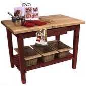 Classic Country Worktable, 48'' or 60'' W x 30'' D x 35''H, with 1 Shelf, Barn Red