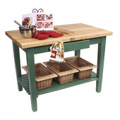 Classic Country Worktable, 48'' or 60'' W x 30'' D x 35''H, with 1 Shelf, Basil Green
