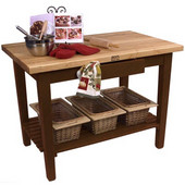Classic Country Worktable, 48'' or 60'' W x 30'' D x 35''H, with 1 Shelf, Cherry Stain