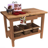 Classic Country Worktable, 36'', 48'', or 60'' W x 24'' D x 35''H, with 1 Shelf, Natural Maple