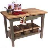 Classic Country Worktable, 36'', 48'', or 60'' W x 24'' D x 35''H, with 1 Shelf, Useful Gray Stain