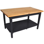 Classic Country Worktable, 48'' or 60'' W x 36'' D x 35''H, with 1 Shelf, Black