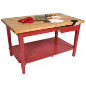 Classic Country Worktable, 48'' or 60'' W x 36'' D x 35''H, with 1 Shelf, Barn Red