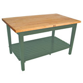 Classic Country Worktable, 48'' or 60'' W x 36'' D x 35''H, with 1 Shelf, Basil