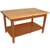 Classic Country Worktable, 48'' or 60'' W x 36'' D x 35''H, with 1 Shelf, Cherry