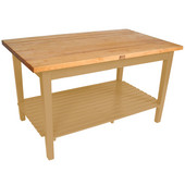 Classic Country Worktable, 48'' or 60'' W x 36'' D x 35''H, with 1 Shelf, Natural Maple