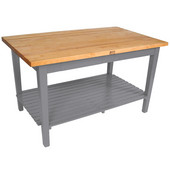 Classic Country Worktable, 48'' or 60'' W x 36'' D x 35''H, with 1 Shelf, Useful Gray