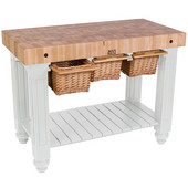 Gathering Block III Kitchen Island with 4'' Thick End Grain Maple Top and 3 Pull Out Wicker Baskets, 48'' W x 24'' D x 36''H, Alabaster