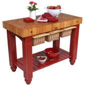 Gathering Block III Kitchen Island with 4'' Thick End Grain Maple Top and 3 Pull Out Wicker Baskets, 48'' W x 24'' D x 36''H, Barn Red