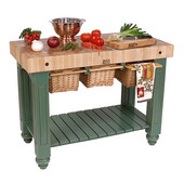 Gathering Block III Kitchen Island with 4'' Thick End Grain Maple Top and 3 Pull Out Wicker Baskets, 48'' W x 24'' D x 36''H, Basil Green