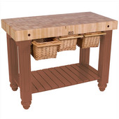 Gathering Block III Kitchen Island with 4'' Thick End Grain Maple Top and 3 Pull Out Wicker Baskets, 48'' W x 24'' D x 36''H, Cherry Stain