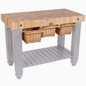 Gathering Block III Kitchen Island with 4'' Thick End Grain Maple Top and 3 Pull Out Wicker Baskets, 48'' W x 24'' D x 36''H, Useful Gray Stain