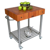 Cucina D'Amico Kitchen Cart with Stainless Steel Base, Cherry End Grain Butcher Block Top, and Casters, 30'' W x 24'' D x 35-1/2'' H