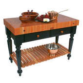Le Rustica 48'' Kitchen Island Work Table with Black Base, 4'' Thick American Cherry End Grain Butcher Block Top and Shelf