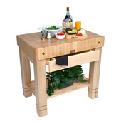 Kitchen Work Table Homestead Block, 36'' W x 24'' D x 34''H, Natural Maple