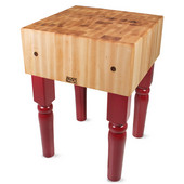 AB Block with 10'' Thick Hard Maple Top, Barn Red, Numerous Sizes Available